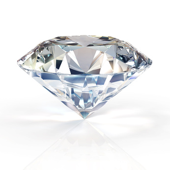 A beautiful sparkling diamond on a light reflective surface. High quality 3d render with HDRI lighting and ray traced textures.